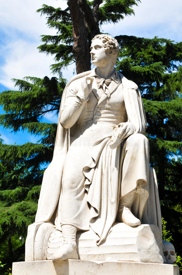 Statue of Byron. In Rome, Italy stock photos
