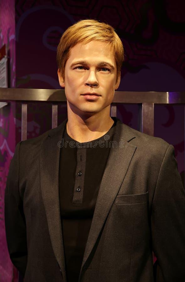 Statue célèbre de cire de Brad Pitt d'acteur de hollywood aux tussauds de Madame à Hong Kong photographie stock