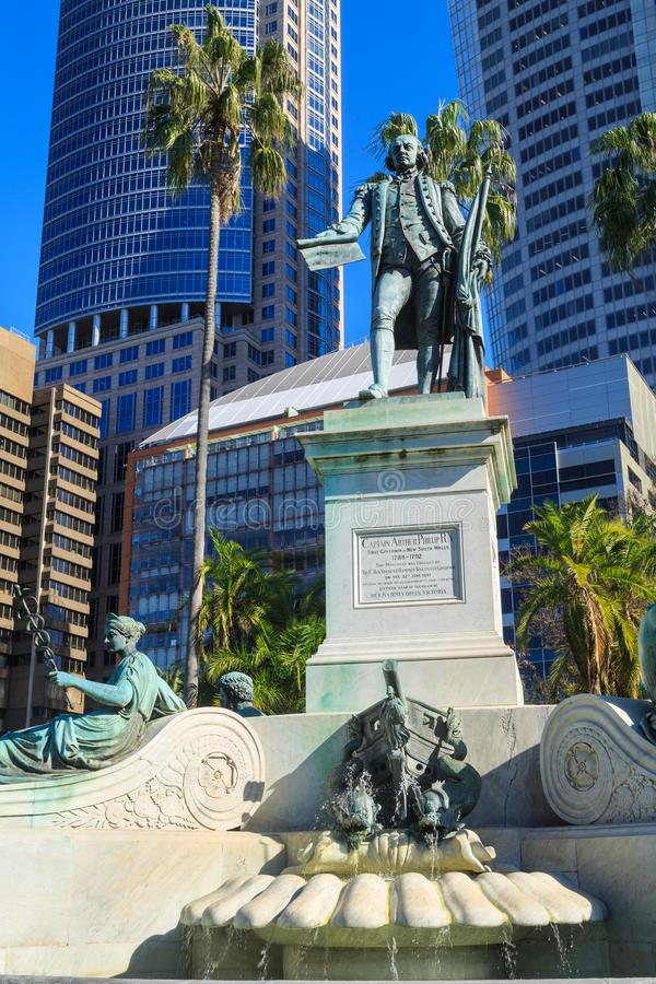 Captain Arthur Phillip statue, Royal Botanic Garden, Sydney, Australia. This statue of Captain Arthur Phillip, first Governor of New South Wales, was erected in royalty free stock photos