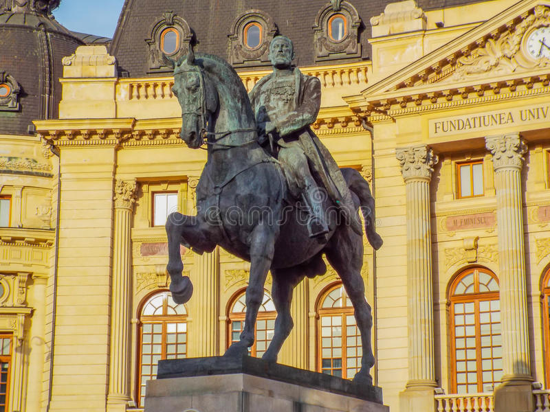 Statue of carol on the horse from Bucharest. Picture with statue of Carol I on the horse from revolution square in Bucharest, Romania royalty free stock image