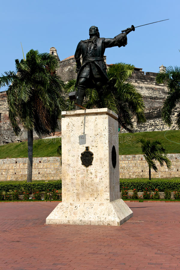 Statue before the Castle of Cartagena stock photography