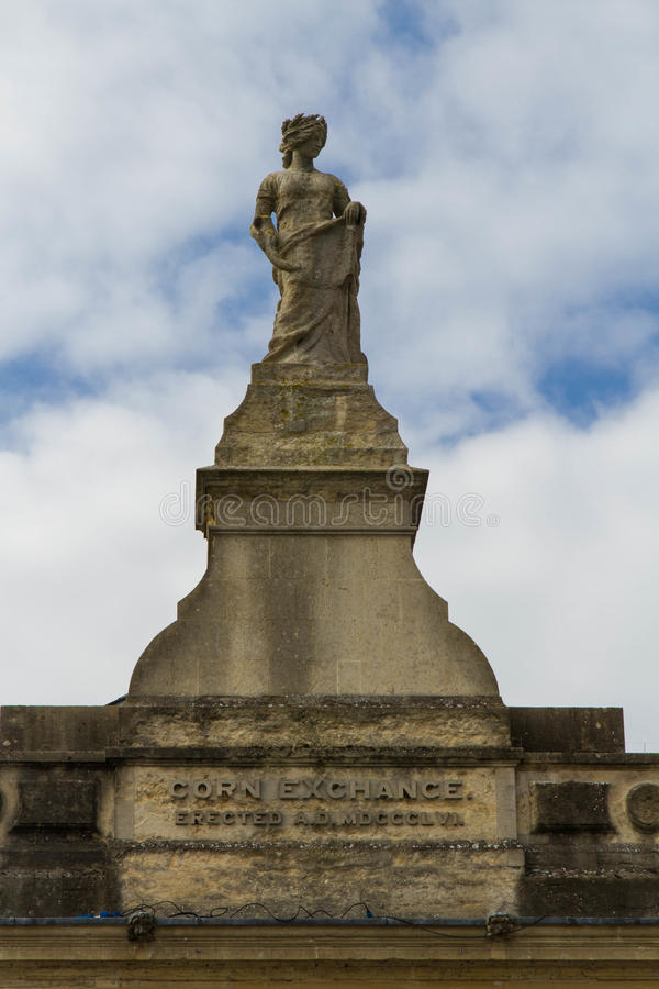 Statue of Ceres at top of Devizes Corn Exchange. Ceres, Roman Goddess of the Harvest. Statue on top of Grade II listed Building. Corn Exchange, Devizes royalty free stock photography