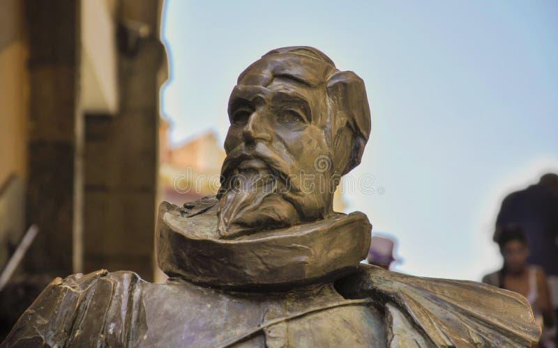 Statue of Cervantes in Toledo, Spain. Close-up view of a statue of author Miguel de Cervantes in Toledo, Spain stock images