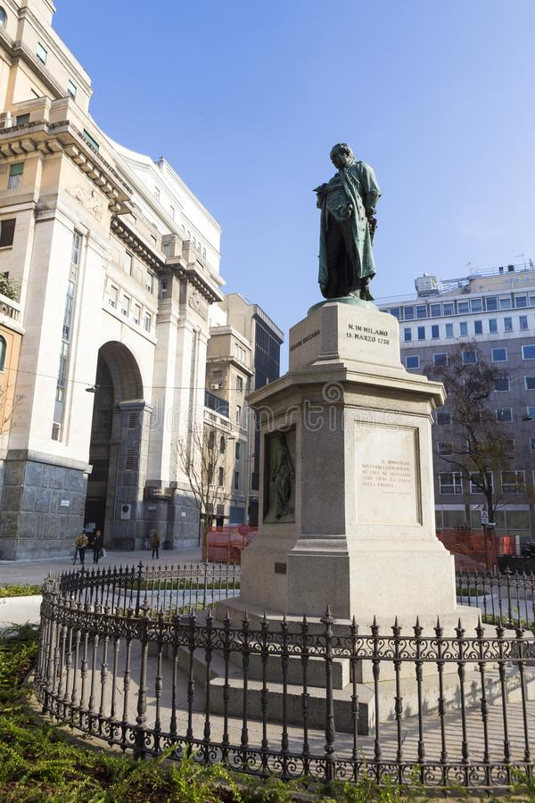 Statue of Cesare Beccaria from Milan royalty free stock photography