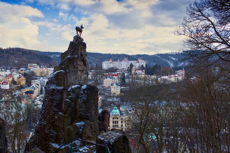 Deer jumping in Karlovy Vary stock photography