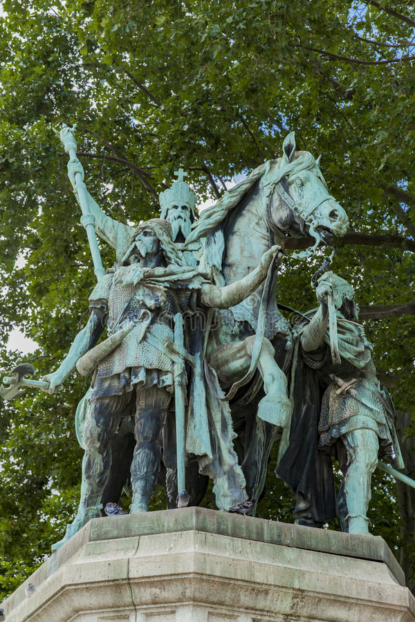 Statue Charlemagne et ses Leudes by Cathedrale Notre Dame de Par. View at statue Charlemagne et ses Leudes by Cathedrale Notre Dame de Paris royalty free stock photo