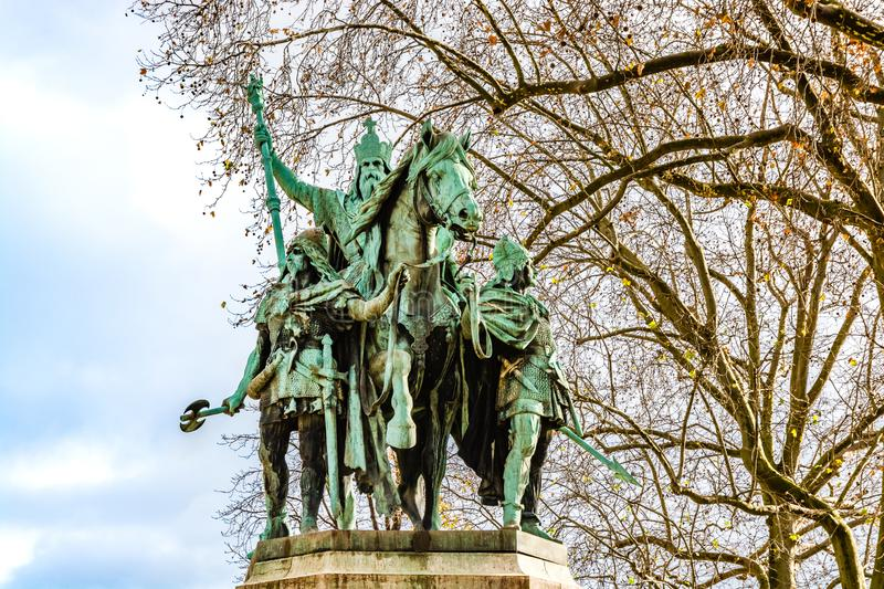 Statue of Charles the Great Charlemagne situated just outside stock photos