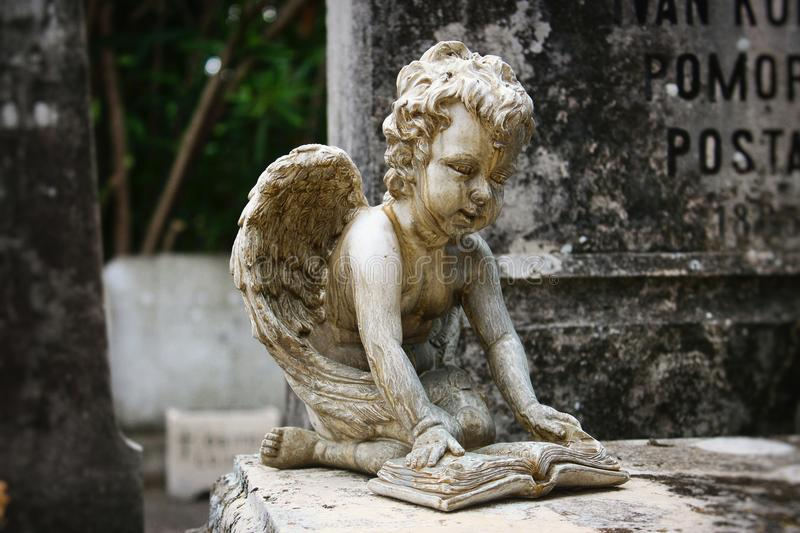 Statue of a cherub reading a book on the stone tablet of a tomb at a graveyard. Statue of a cute cherub reading a book on the stone tablet of a tomb at a stock image