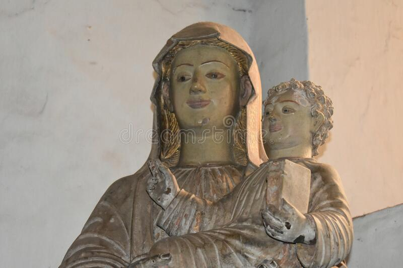 Statue of Child Jesus in lap of his mother. India stock image