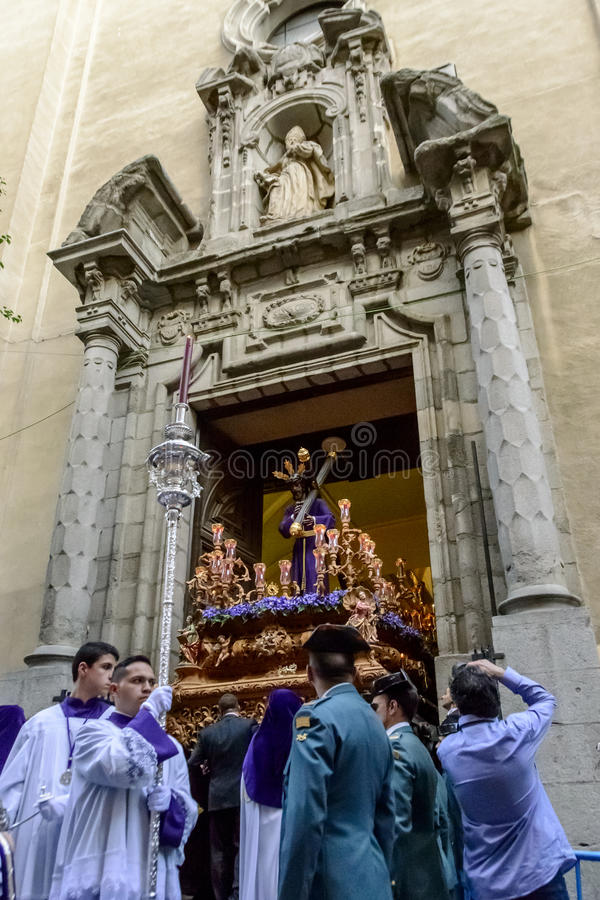 The statue of Christ leaving the church. Vertical view of the statue of Nuestro Padre Jesús De La Salud Los Gitanos leaving the church in Madrid on Holy royalty free stock photos
