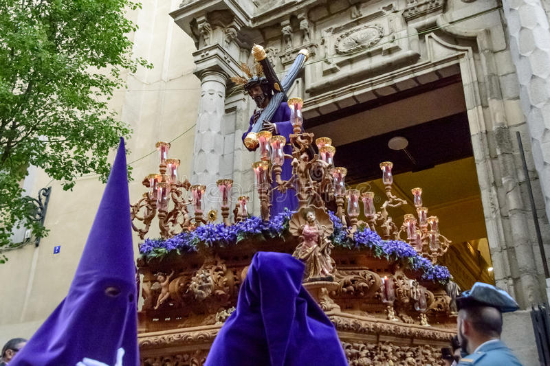 The statue of Christ leaving the church. View of the statue of Nuestro Padre Jesús De La Salud Los Gitanos leaving the church in Madrid on Holy Wednesday stock photography