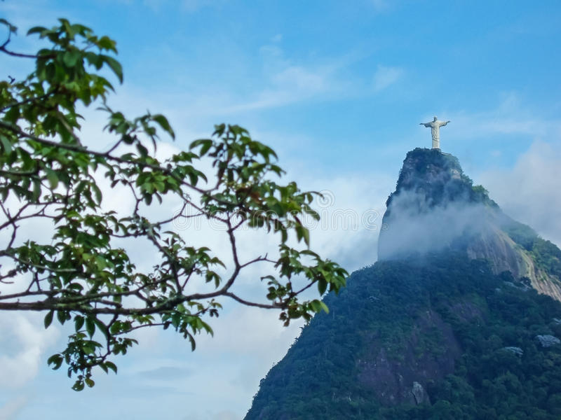 Statue Christ the Redeemer in Brasil. A view of Christ the Redeemer from the Mirante Dona Marta peak in Rio de Janeiro, Brazil royalty free stock photo
