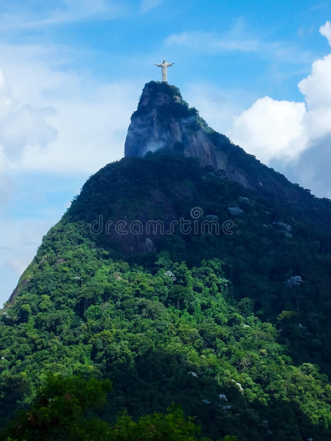 Statue Christ the Redeemer in Rio de Janeiro. A view of Christ the Redeemer from the Mirante Dona Marta peak in Rio de Janeiro, Brazil royalty free stock photography