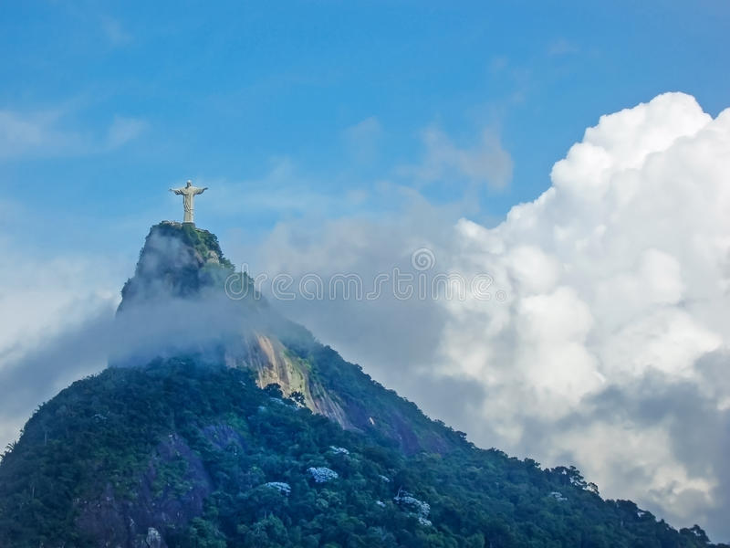 Statue Christ the Redeemer in Rio. A view of Christ the Redeemer from the Mirante Dona Marta peak in Rio de Janeiro, Brazil royalty free stock photography