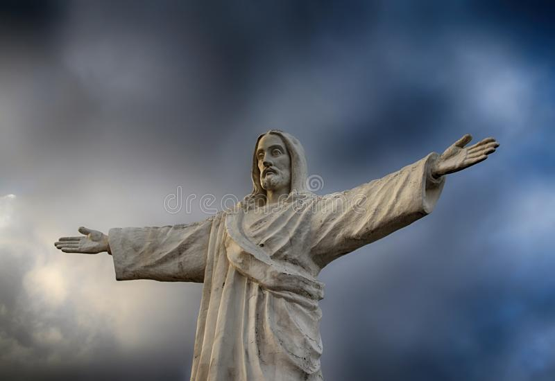 Statue of christ the redeemer in Cuzco Peru stock photography