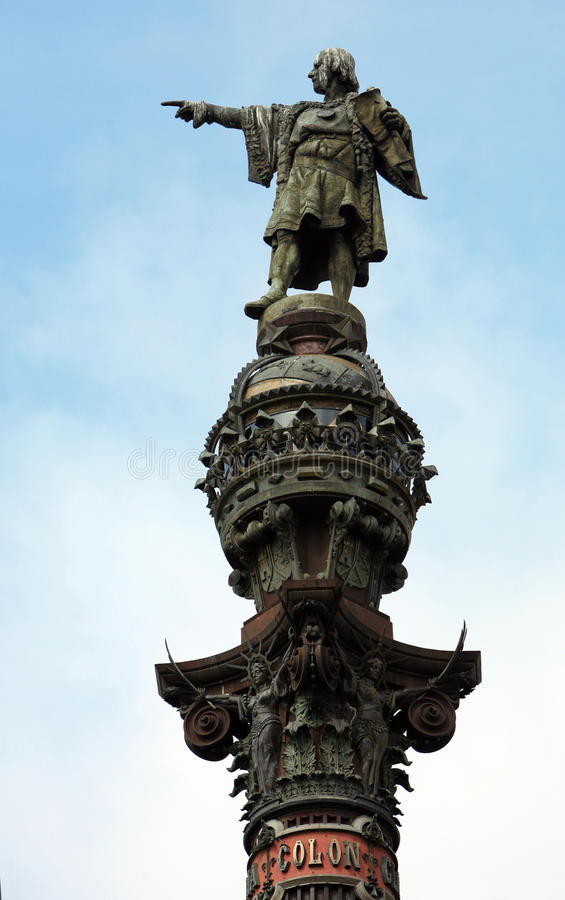 Statue Of Christopher Columbus In Barcelona Stock Photo