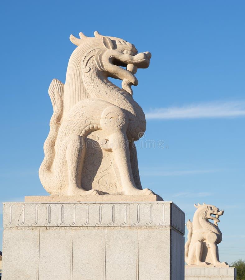 Statue cinesi del leone fotografia stock libera da diritti