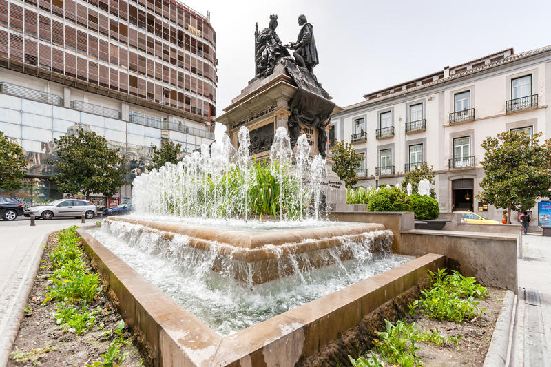 The statue of Columbus in Granada. Andalusie, zuid Spain royalty free stock image