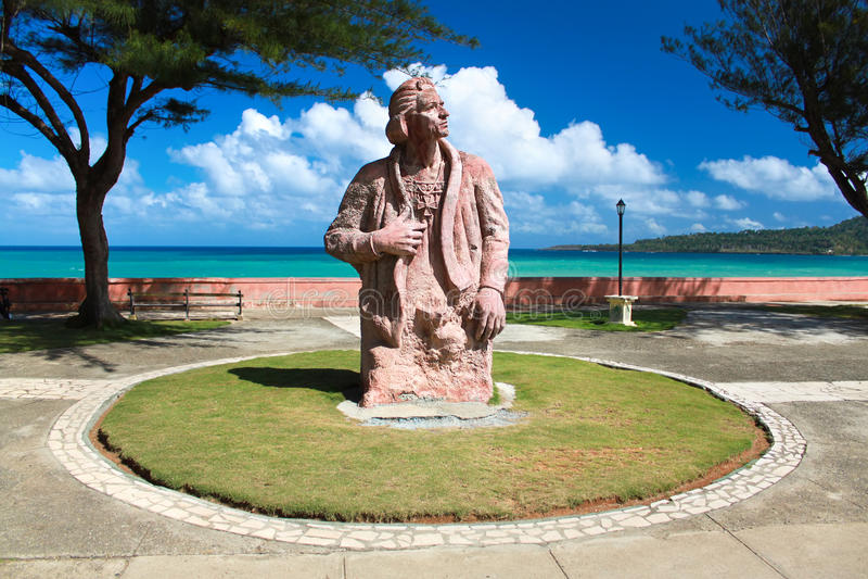 Statue commémorative de Christoforo Colombo, Baracoa photo stock