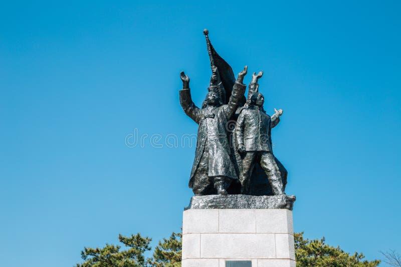 Statue commémorative de 3 1 déclaration de l'indépendance en parc de l'indépendance de Seodaemun, Séoul, Corée images libres de droits