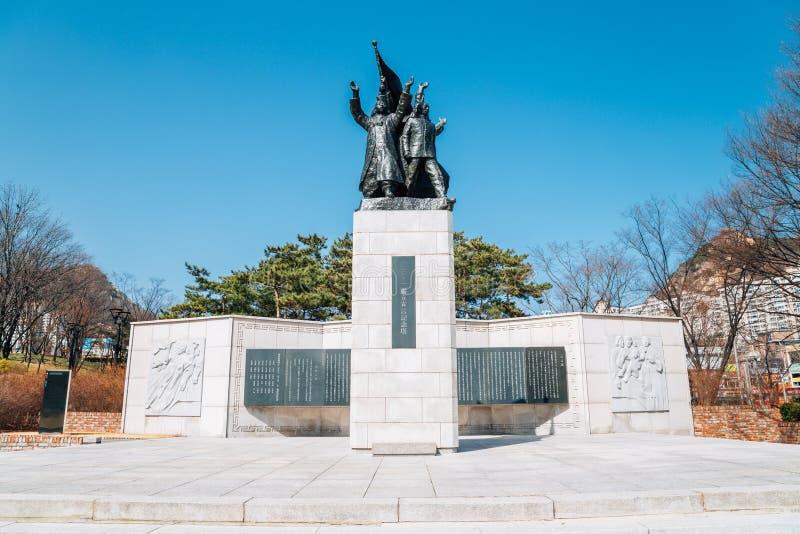 Statue commémorative de 3 1 déclaration de l'indépendance en parc de l'indépendance de Seodaemun, Séoul, Corée image stock
