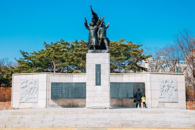 Statue commémorative de 3 1 déclaration de l'indépendance en parc de l'indépendance de Seodaemun, Séoul, Corée photographie stock