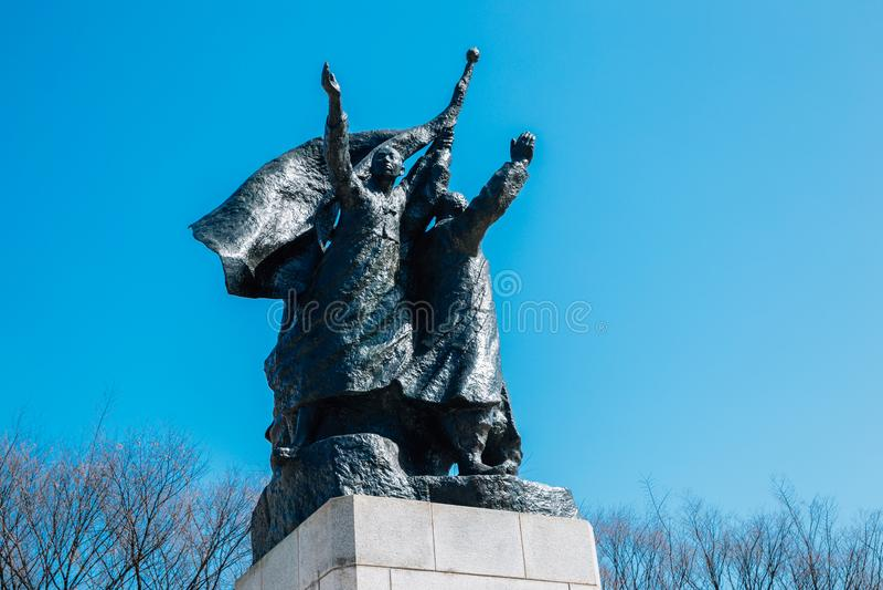 Statue commémorative de 3 1 déclaration de l'indépendance en parc de l'indépendance de Seodaemun, Séoul, Corée photos stock