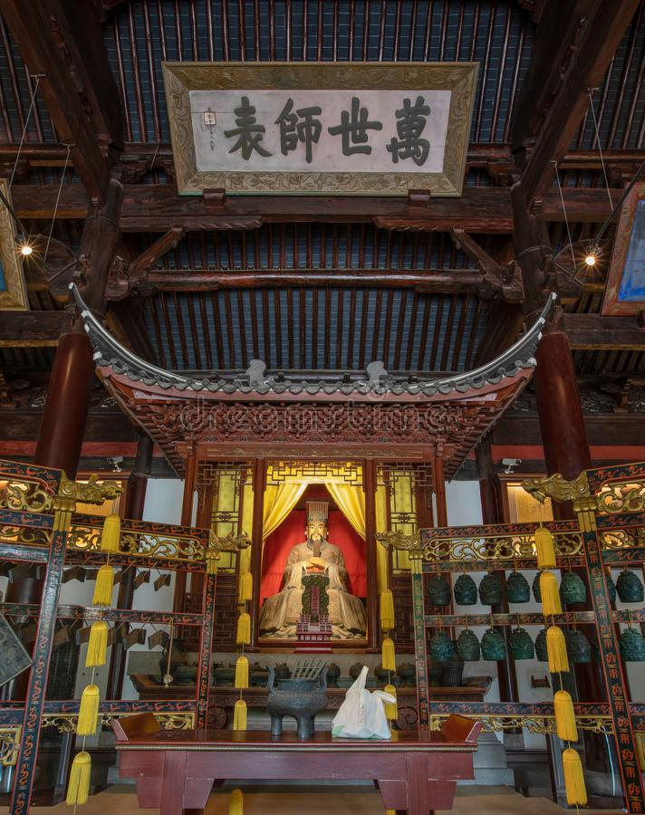Statue of Confucius or Kongzi in Confucian Temple or Kongmiao at Jiading, Shanghai, China. Built initially in 13th century. The four chinese charaters means royalty free stock photos