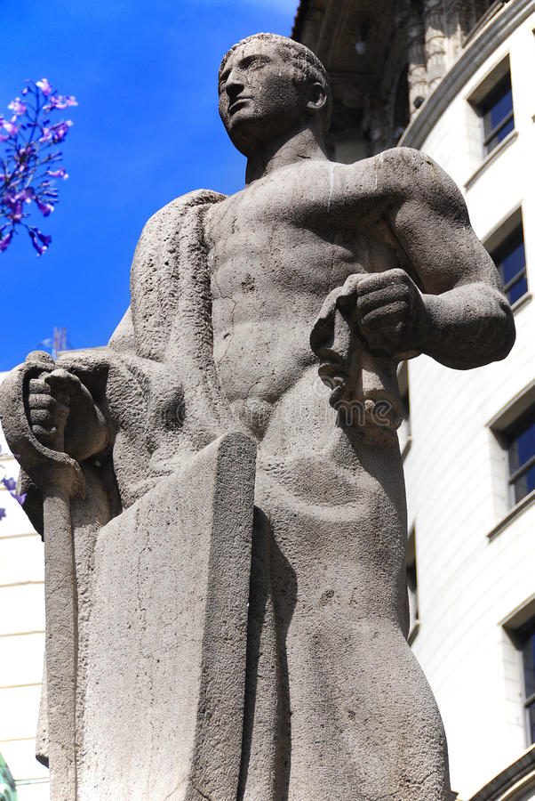 Statue in Congressional Plaza. Is a public park facing the Argentine Congress in Buenos Aires Argentina. The plaza is part open space comprising 3 adjoining royalty free stock photography