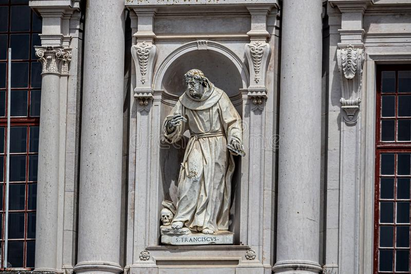 Statue in the Convent of Mafra. The Convent of Mafra in Mafra, in the district of Lisbon, in Portugal. It is composed of a monumental palace and monastery royalty free stock photos