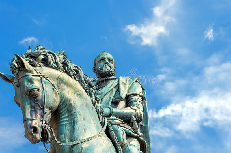 Statue of Cosimo de Medici in Florence, Italy. FLORENCE, ITALY - March 21, 2014: equestrian statue of Cosimo de 'Medici in Florence, Italy. Florence's historic stock images