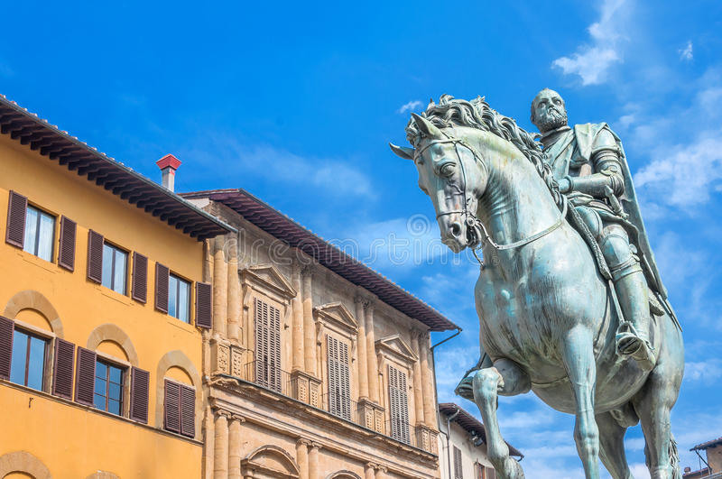 Statue of Cosimo de Medici in Florence, Italy. FLORENCE, ITALY - March 21, 2014: equestrian statue of Cosimo de 'Medici in Florence, Italy. Florence's historic royalty free stock photography