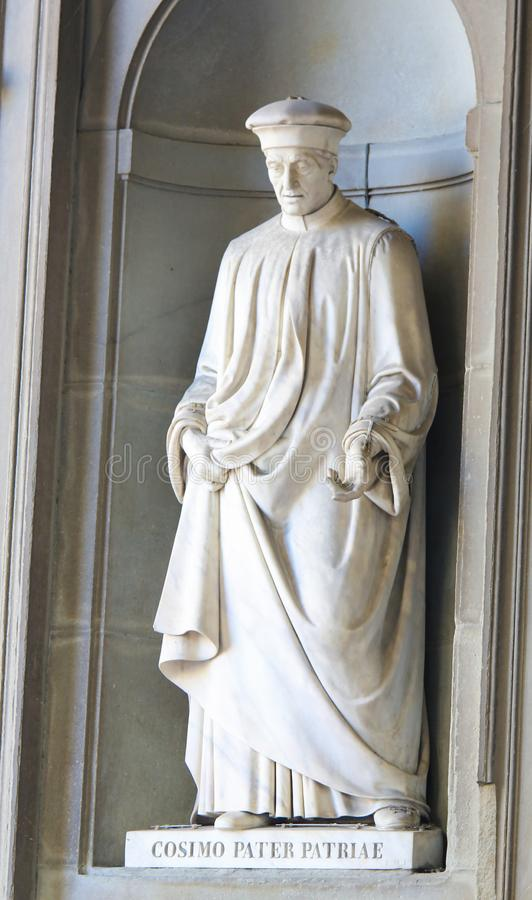 Statue of Cosimo de Medici in Uffizi Colonnade. Statue of Cosimo di Giovanni de Medici, called the Elder and posthumously Father of the Fatherland or pater stock images
