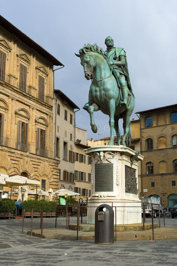 Statue of Cosimo I de' Medici by Giambologna. Florence, Italy royalty free stock images