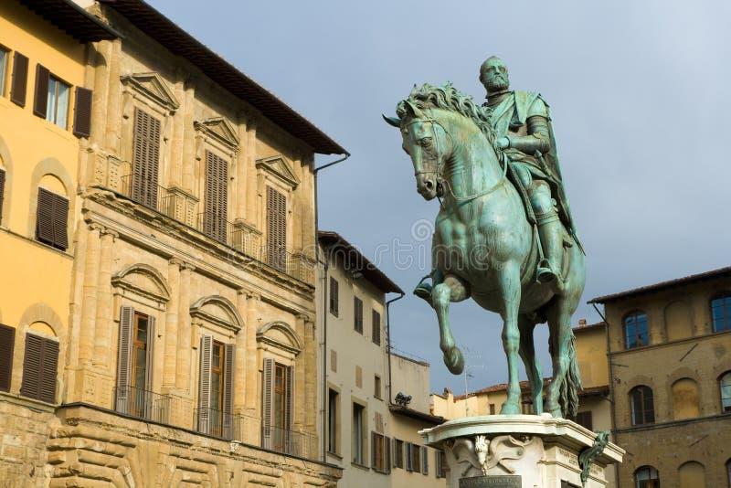 Statue of Cosimo I de' Medici by Giambologna. Florence, Italy royalty free stock photo