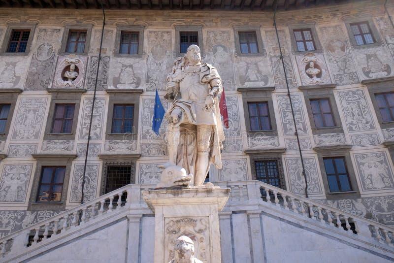 Statue of Cosimo I de Medici, Grand Duke of Tuscany in Pisa. Statue of Cosimo I de Medici, Grand Duke of Tuscany on Piazza dei Cavalieri Palazzo della Carovana stock image