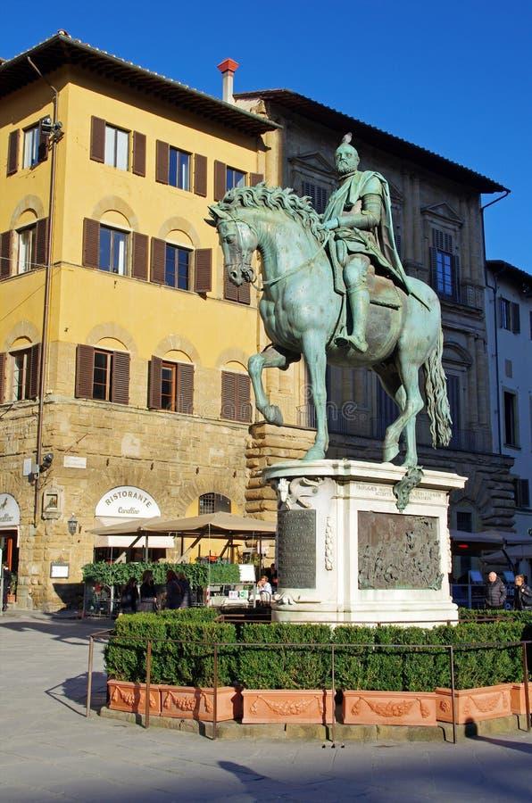 Statue of Cosimo I de Medici. The statue of Cosimo I de Medici on Piazza della Signoria in Florence, Italy stock photos