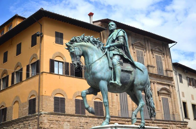 The statue of Cosimo I de Medici on Piazza della Signoria in Florence, Italy. The statue of Cosimo I de Medici on Piazza della Signoria in Florence in Tuscany royalty free stock photos