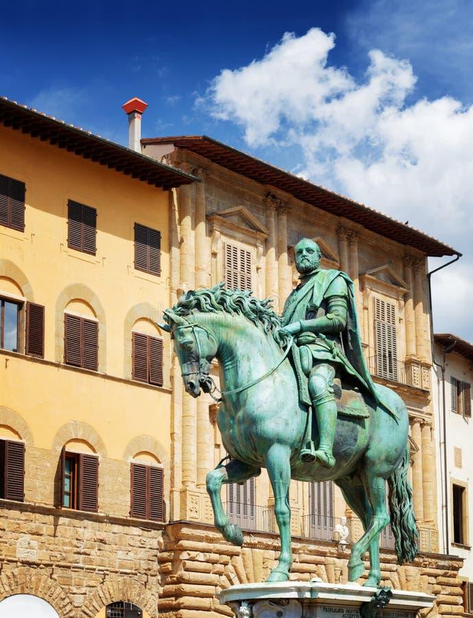 Statue of Cosimo I Medici on the Piazza della Signoria. Florence. Bronze equestrian statue of Cosimo I de Medici the Grand Duke of Tuscany on the Piazza della stock image