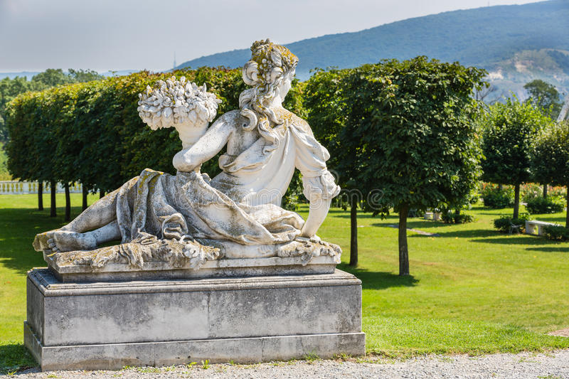 Statue in the courtyard of the castle Schloss Hof, Austria. Statue in the courtyard of the castle Schloss Hof in Lower Austria royalty free stock image