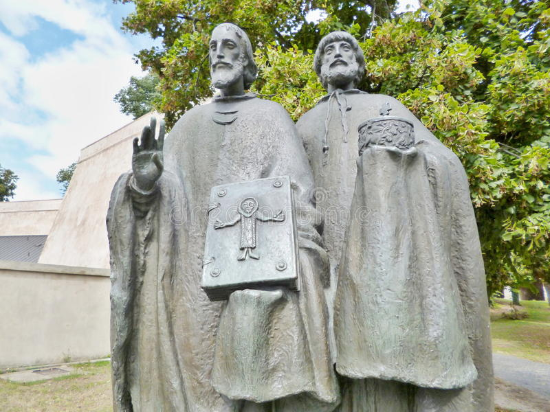 Statue - Cyril and Methodius. royalty free stock photo