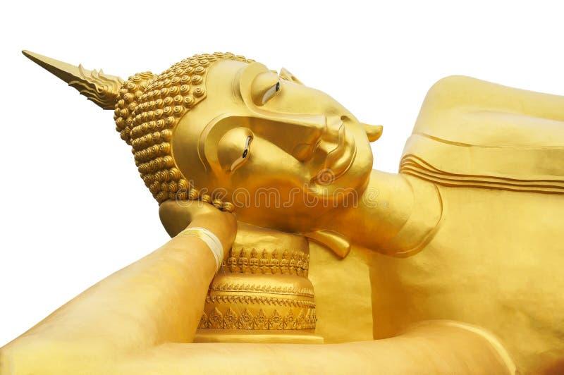 Statue d'or étendue de sommeil Bouddha au temple dans Thaialnd, d'isolement sur un fond blanc photos stock