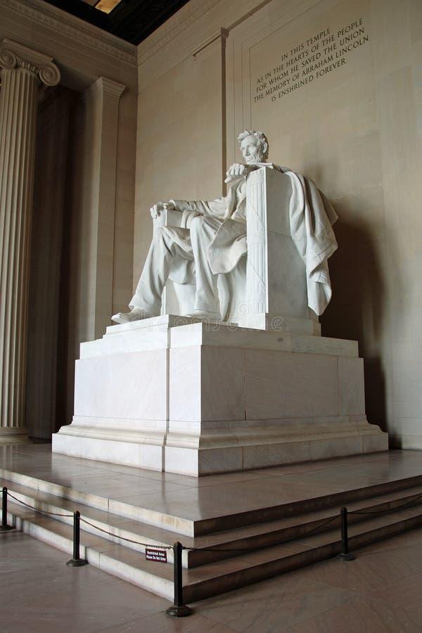 Statue d'Abraham Lincoln dans le mémorial de Lincoln images libres de droits