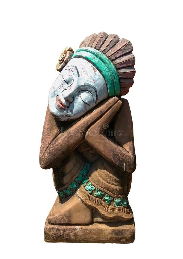 Statue d'art d'Indiens d'isolement sur le blanc images stock