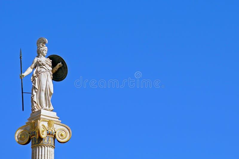 Statue d'Athéna devant l'université d'Athènes photo stock