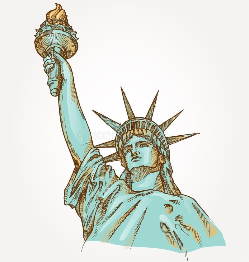 Statue d'aube de main de liberté illustration stock