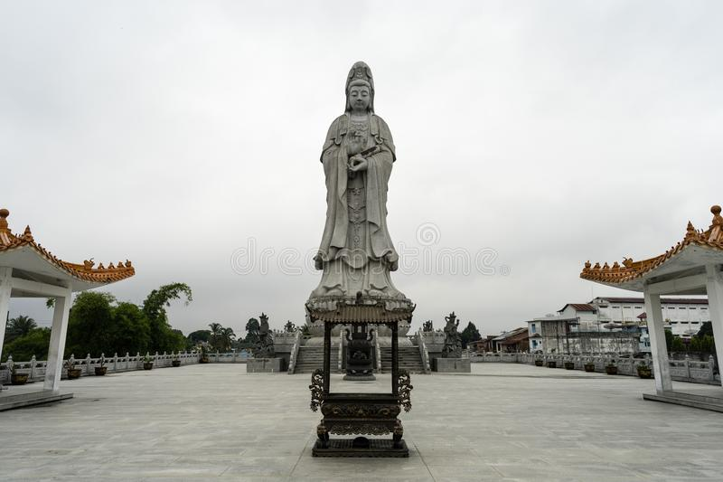 Statue d'Avalokitesvara Pematang Siantar - en Indonésie photo stock