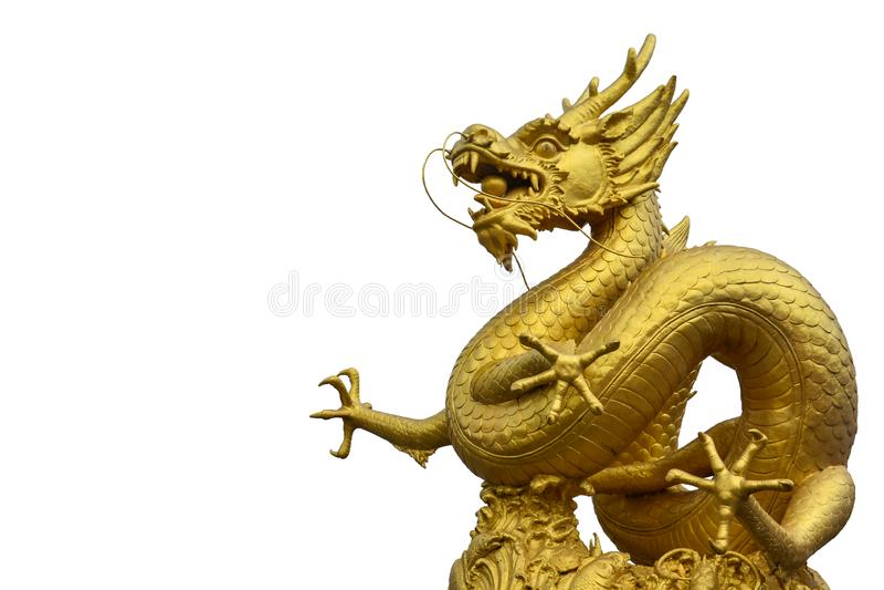 Statue d'or chinoise de dragon d'isolement sur le fond blanc, l'espace de copie photos stock