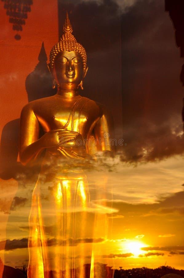 Statue d'or de Bouddha dans la salle en verre images stock