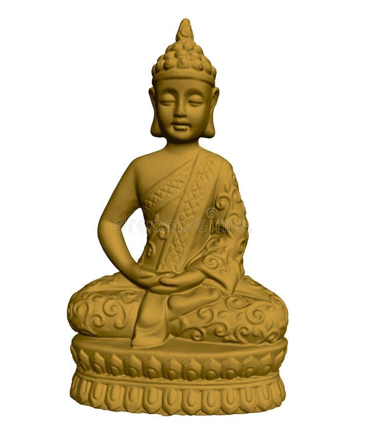 Statue d'or de Bouddha 3d Sculpture polygonale en Bouddha d'isolement sur le fond blanc Illustration de vecteur illustration de vecteur